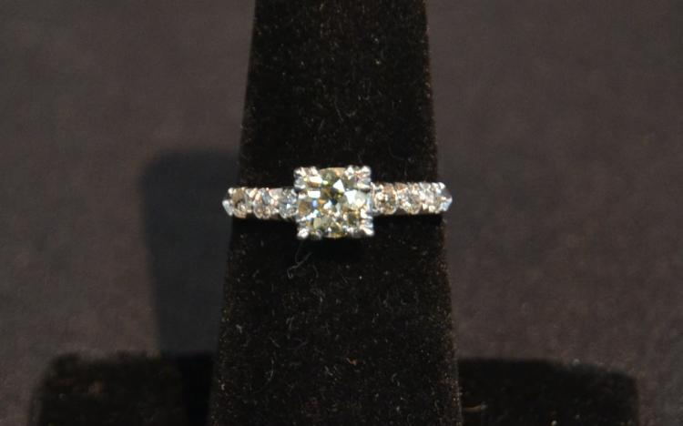 PLATINUM DIAMOND RING WITH 85 POINT CENTER
