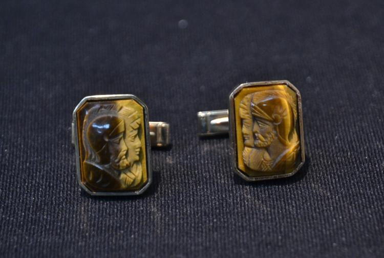 (Pr) 14kt YELLOW & PINK GOLD TIGER EYE CUFFLINKS