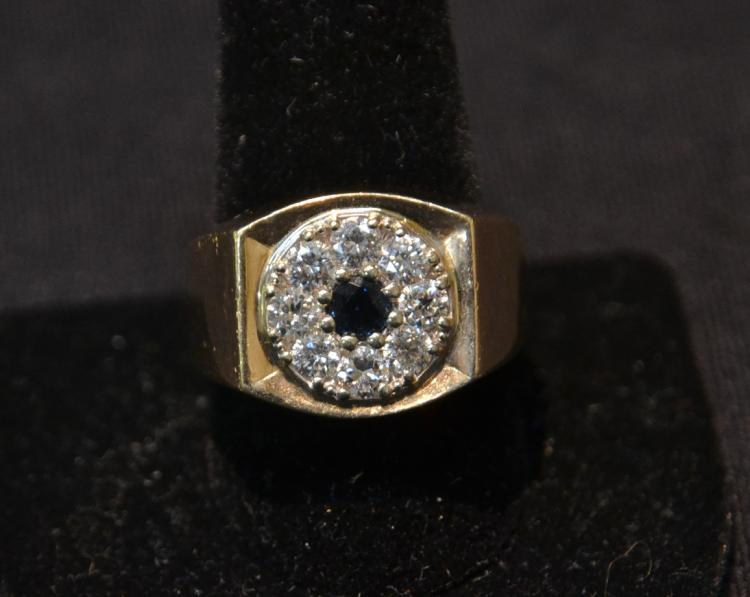 14kt MANS RING WITH CENTER SAPPHIRE & (8) DIAMONDS
