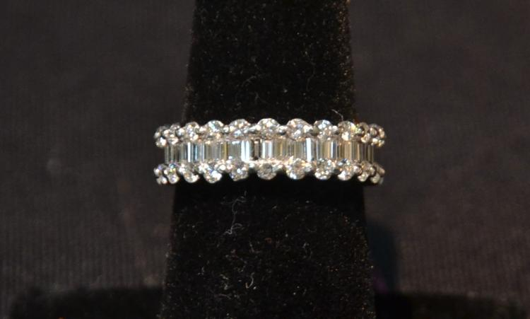 PLATINUM DIAMOND ETERNITY RING WITH BAGUETTES