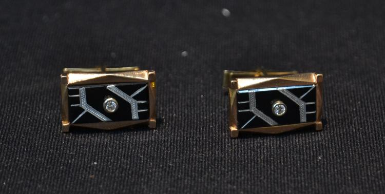 (Pr) DECO 14kt PINK & YELLOW GOLD CUFFLINKS WITH