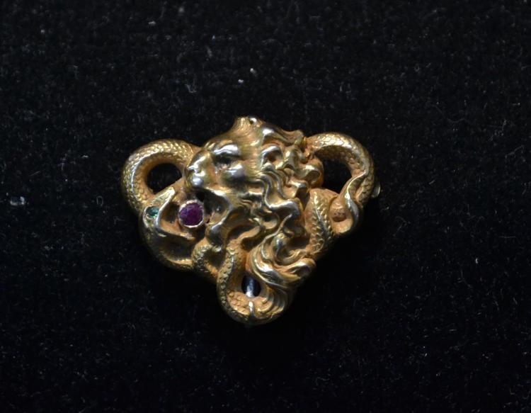 14kt LION HEAD PIN - 1 1/4
