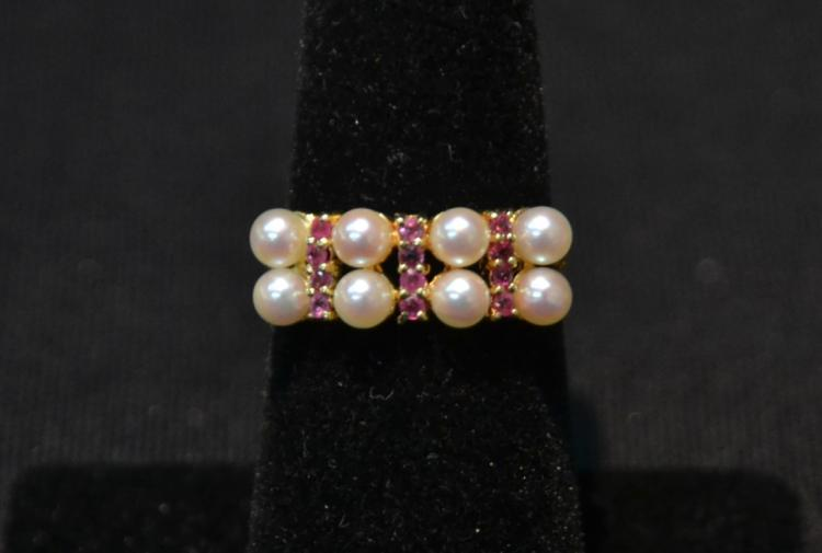 14kt (8) PEARL & (12) RUBY RING