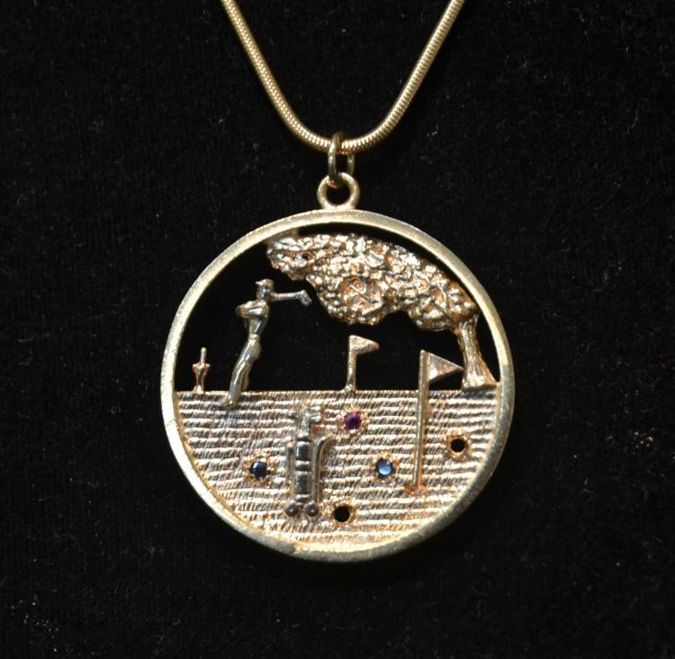 14kt GOLD GOLFER PENDANT & CHAIN WITH