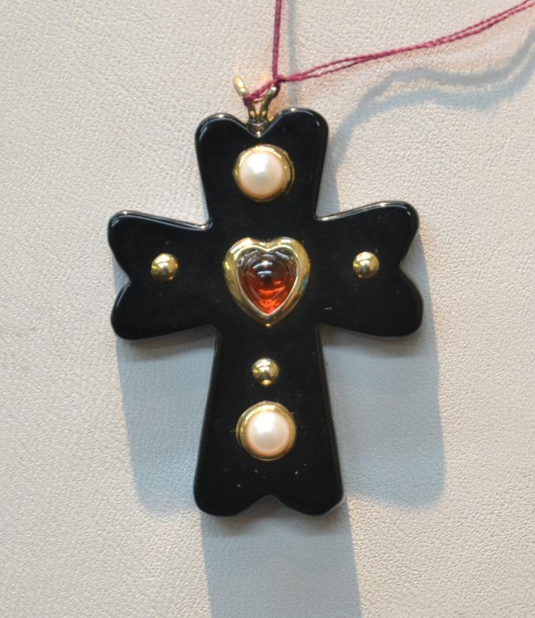 14kt GOLD & ONYX CROSS WITH PEARL & RUBY