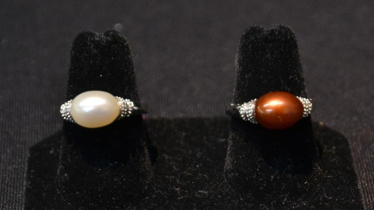 (2) STERLING SILVER & PEARL RINGS