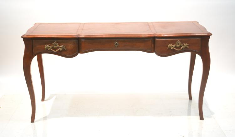 BAKER FRENCH STYLE LEATHER TOP SCALLOPED DESK