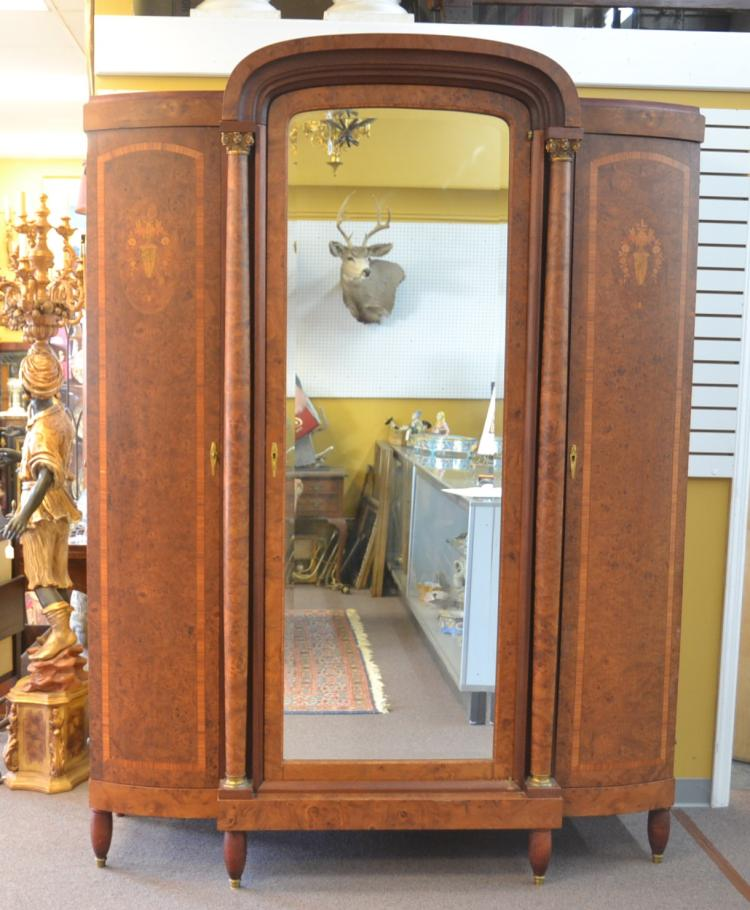 FRENCH BURLED 3-DOOR ARMOIRE WITH PARQUETRY