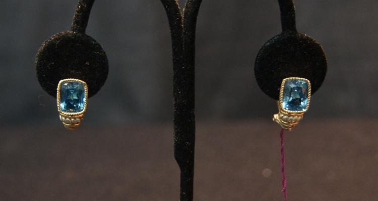 (Pr) STERLING SILVER & 18kt BLUE TOPAZ EARRINGS
