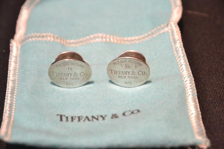 (Pr) TIFFANY STERLING SILVER TAG CUFFLINKS