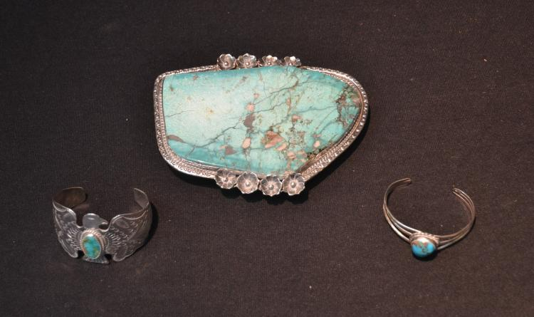 (2) NATIVE AMERICAN STERLING SILVER BRACELETS &