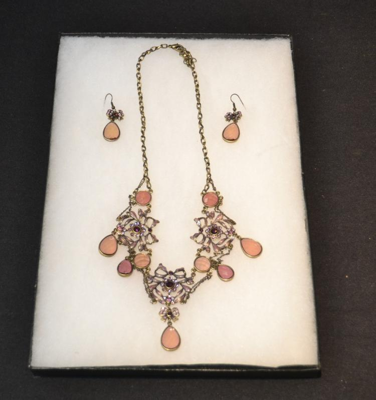 VICTORIAN NECKLACE & EARRINGS WITH GEMSTONES