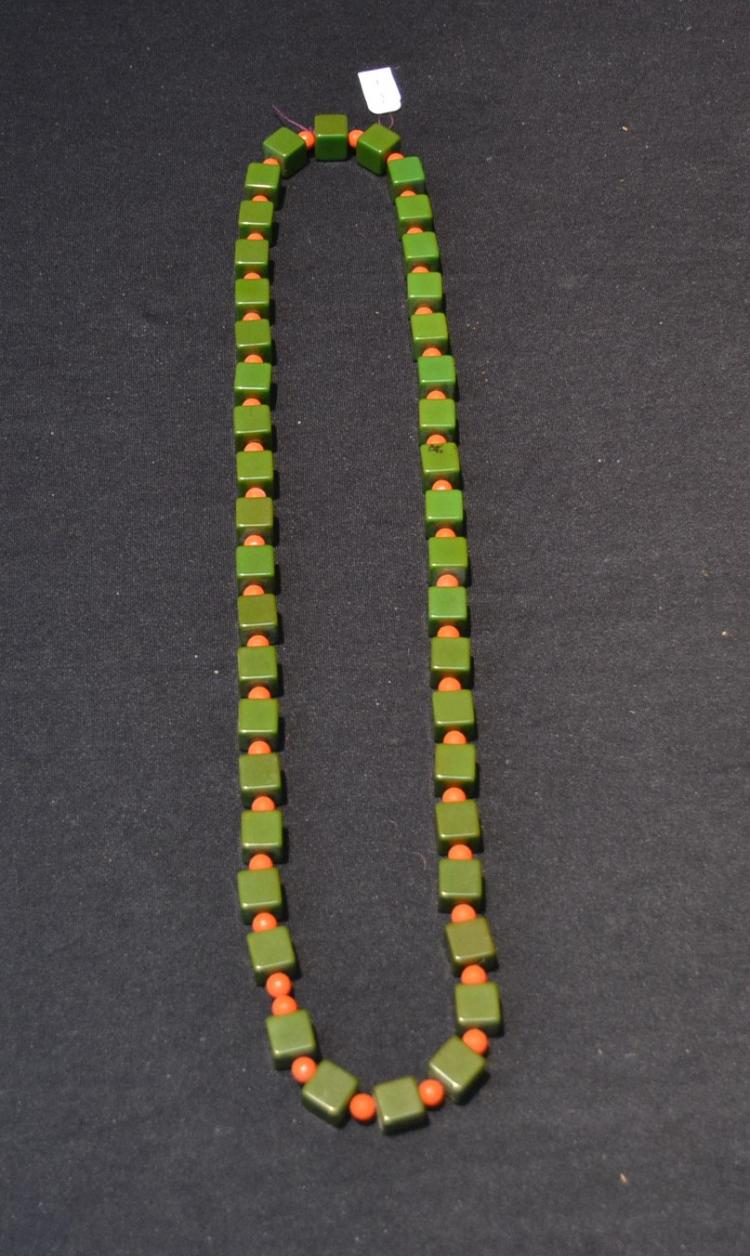 BAKELITE SQUARE BEAD NECKLACE - 32