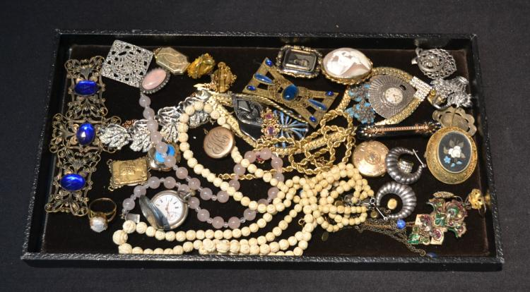ASSORTED VICTORIAN COSTUME JEWELRY INCLUDING