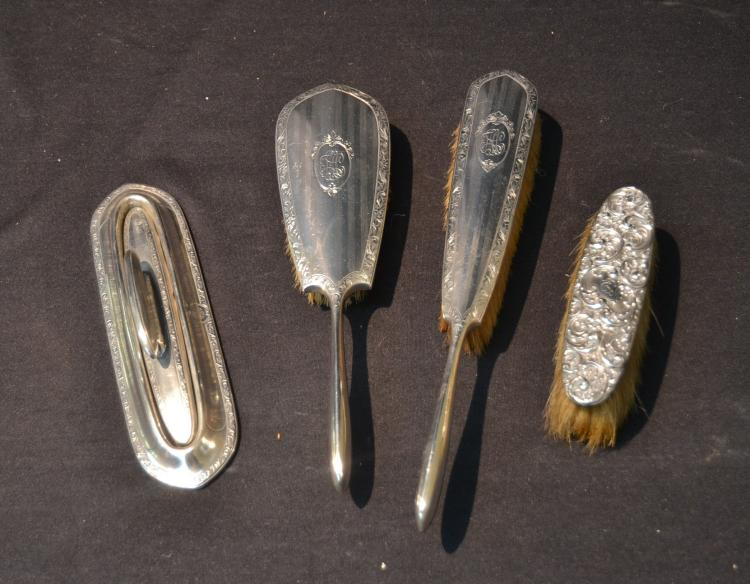 (4) STERLING SILVER VANITY PIECES INCLUDING