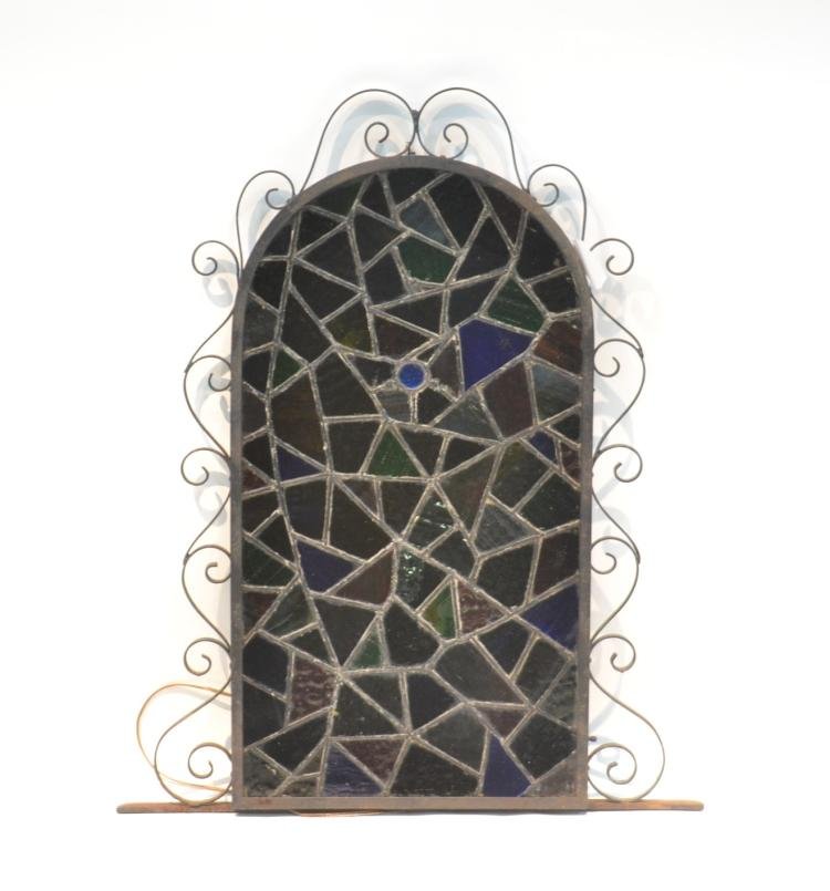 IRON & STAINED GLASS ELECTRIFIED FRAME