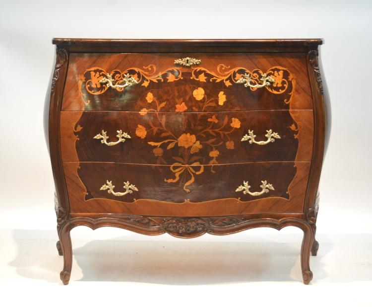 FLORAL INLAID COMMODE WITH SECRETARY DRAWER