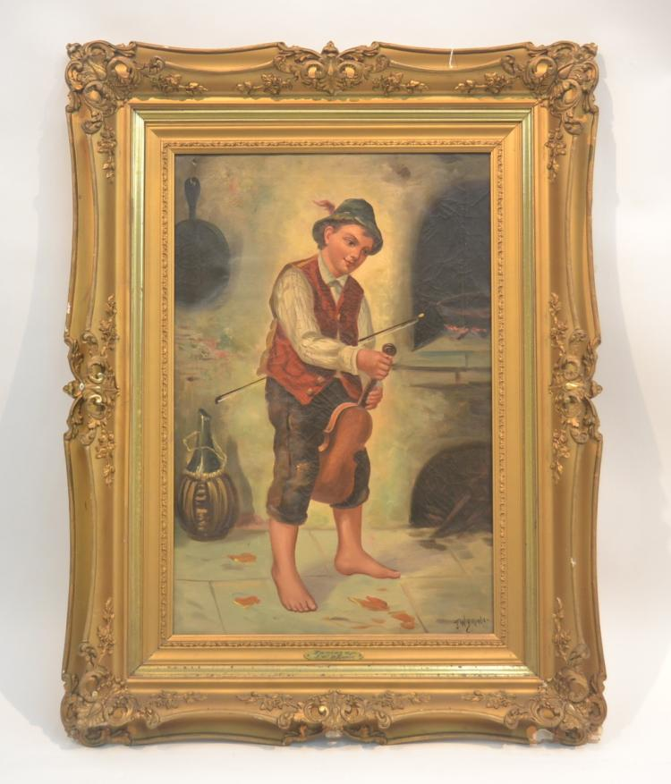 OIL ON CANVAS BOY WITH VIOLIN SIGNED G.W. BROWN