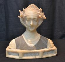 ANTIQUE 2-TONE ALABASTER BUST