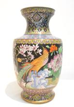 LARGE CLOISONNE VASE WITH FLOWERS & BIRDS