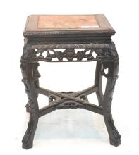 CARVED ROSEWOOD MARBLE TOP TABORET TABLE