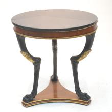 ROUND EMPIRE STYLE MARBLE TOP TABLE WITH