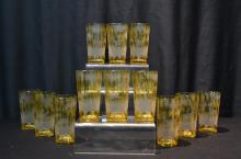(12) BOHEMIAN ETCHED AMBER GLASSES WITH