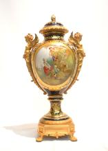 LARGE HAND PAINTED COBALT SEVRES  COVERED URN