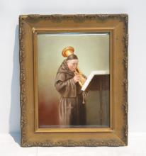 HAND PAINTED LIMOGES PLAQUE DEPICTING MONK