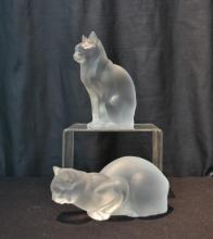 (Pr) LARGE LALIQUE CRYSTAL CATS -