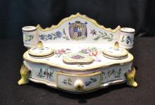 FRENCH FAIENCE STOVE FORM INKWELL