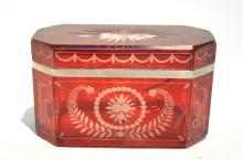 ETCHED BOHEMIAN DRESSER BOX - 6 1/2