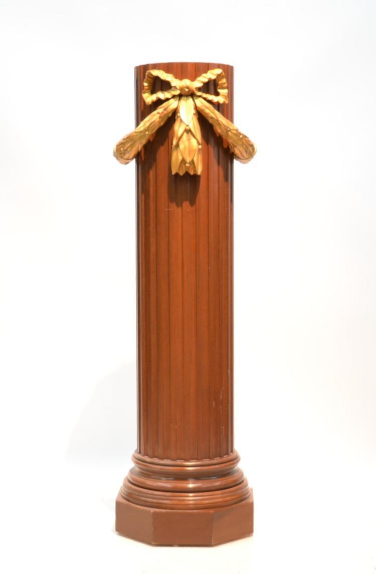Large decorative carved wood column pedestal for Decorative column