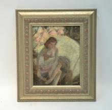 JAMES CHAPIN (1887-1975) OIL ON CANVAS OF SEATED