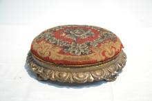 VICTORIAN FOOTSTOOL WITH BEADED NEEDLEPOINT