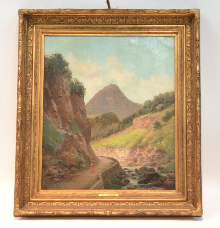 OIL ON CANVAS OF FIGURE WALKING IN MOUNTAIN RIVER