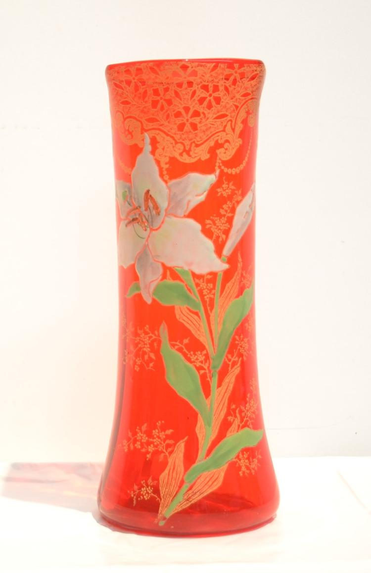 Glass Vase With Enameled Flowers 5 X 11
