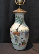 CHINESE FIGURAL PORCELAIN LAMP