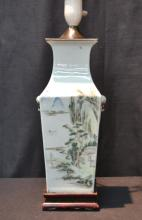 CHINESE PORCELAIN 4-PANEL LAMP WITH