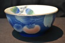 ORIENTAL PORCELAIN BOWL WITH PEACHES & LEAVES