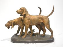FRENCH BRONZE OF STANDING HOUNDS