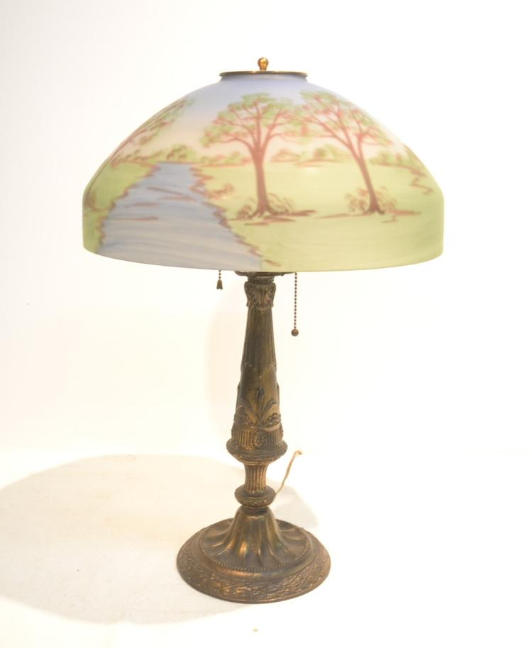 reverse painted glass shade table lamp. Black Bedroom Furniture Sets. Home Design Ideas