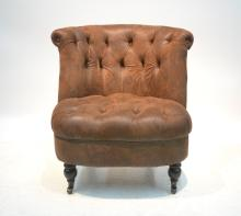 BROWN FAUX DISTRESSED LEATHER CHAIR WITH