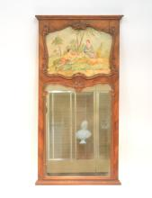 WALNUT TRUMEAU MIRROR WITH HAND PAINTED
