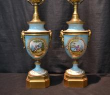 (Pr) SEVRES STYLE BOUDOIR LAMPS WITH