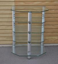 AVDECO MODERN 5-TIER GLASS & CHROME ETAGERE STAND