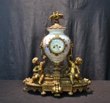 HAND PAINTED GILT METAL SEVRES STYLE MANTLE CLOCK