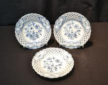 (3) RETICULATED MEISSEN BLUE & WHITE PLATES - 8