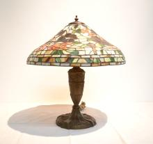 CONTEMPORARY LEADED GLASS LAMP WITH