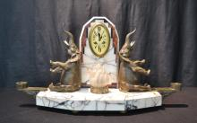 DECO MARBLE & BRONZE MANTLE CLOCK WITH